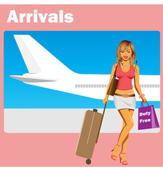 girl at airport vector image