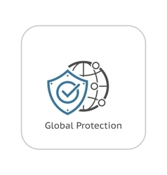 Global Protection Icon Flat Design vector image
