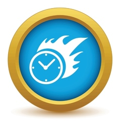Gold hot clock icon vector image