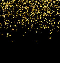 Golden stars falling from the sky on black vector