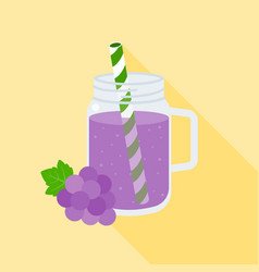 grape juice in mason jar flat design vector image