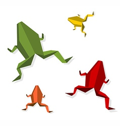 Group of various Origami frog vector image