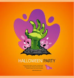 Halloween party poster with zombie hand vector