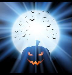 halloween pumpkin against a moon with bats vector image