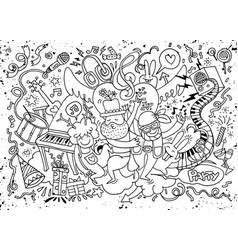 Hand drawing doodle funny party people f vector