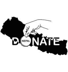 hand holding coin with the word DONATE vector image