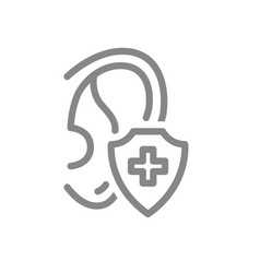 Healthy protected ear line icon heart treatment vector