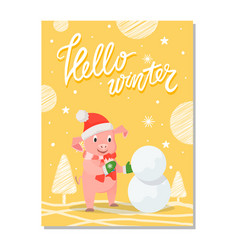 hello winter poster pig red hat and knitted scarf vector image