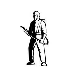industrial worker spray disinfectant standing vector image