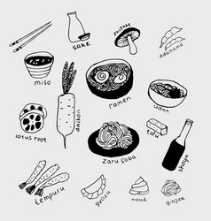 Japanese food line art set vector