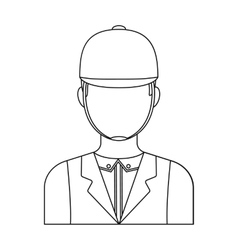 Jockey icon in outline style isolated on white vector