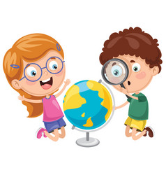 kids having geography lesson vector image