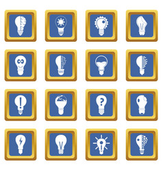 Lamp logo icons set blue vector