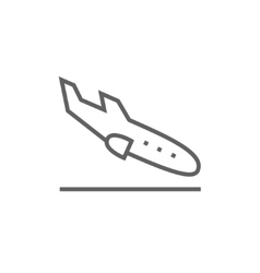 Landing aircraft line icon vector image