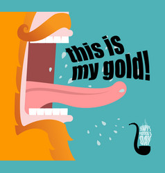 leprechaun shouts this is my gold scary red beard vector image