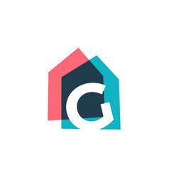 Letter g house home overlapping color logo icon vector