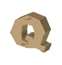 Letter q stone font rock alphabet symbol stones vector