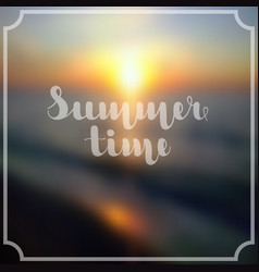 lettering summer time in white color on abstract vector image