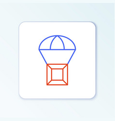 Line box flying on parachute icon isolated on vector