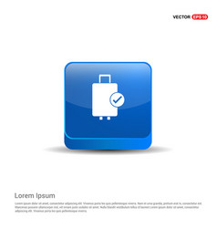luggage bags icon - 3d blue button vector image