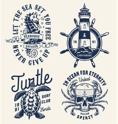 monochrome sea and marine badges vector image