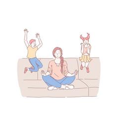 Motherhood psychological balance concept vector