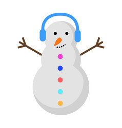 new year snowman with blue earphones on head vector image