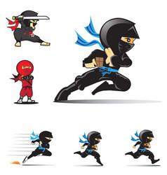 Ninja logo set vector