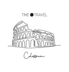 one continuous line drawing colosseum vector image