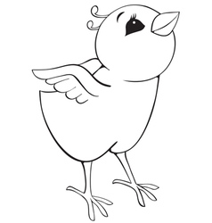 Outline surprised chicken vector image