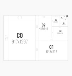 Paper size format series c from c0 to c10 vector