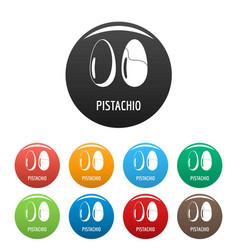 pistachio icons set color vector image