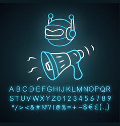 Propaganda bot neon light icon spam attack vector
