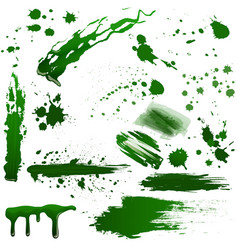 Realistic green toxic blood splatters set vector
