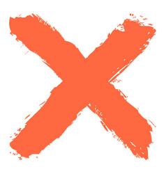 red criss cross brushstroke delete sign vector image