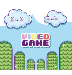 Retro videogame scenery vector