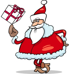santa with gift cartoon vector image
