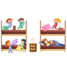 scene with many girls playing and sleeping in bed vector image