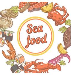 sea food restaurant menu design fish crab vector image