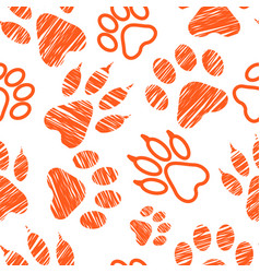 seamless pattern with animal footprints pet paw vector image