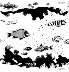 Seamless pattern with fish and underwater vector