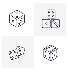 Set dice icon logo template creative gambling vector