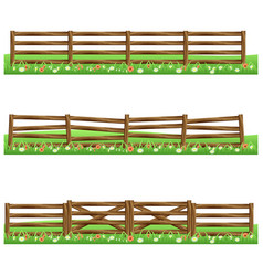 Set farm wooden fences isolated on white vector