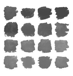 Set of gray watercolor stains on white vector