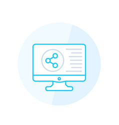 shared screen icon line style vector image