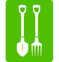 Shovel and pitchfork icon - tools for garden vector