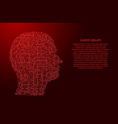 silhouette of male head on the side from printed vector image