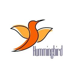 Silhouette of orange hummingbird or colibri bird vector image
