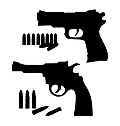Silhouette sketch revolver and a pistol vector