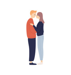 smiling young casual man and woman hug touching vector image
